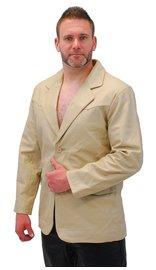 Cream Beige Two Button Lambskin Leather Blazer #M1123BTT (S-L)