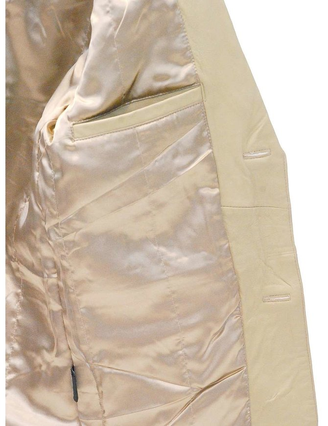 Cream Beige Two Button Lambskin Leather Blazer #M1123BTT