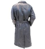 Men's Black Leather Ankle Length Trench Coat w/Removable Fur #M1140HZK