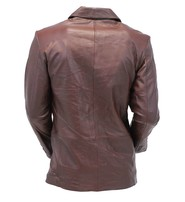 Chocolate Brown Two Button Lambskin Leather Blazer #M1181N