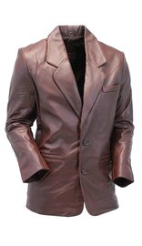 Jamin Leather Chocolate Brown Two Button Lambskin Leather Blazer #M1181N