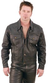 Jamin Leather Denim Style Black Leather Jacket #M1411
