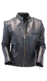 Black Leather Scooter Jacket - Special #M14K