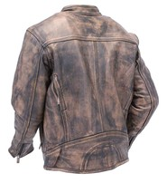 Vintage Brown Vented Motorcycle Scooter Jacket w/CCW Pockets #M1550VZGN