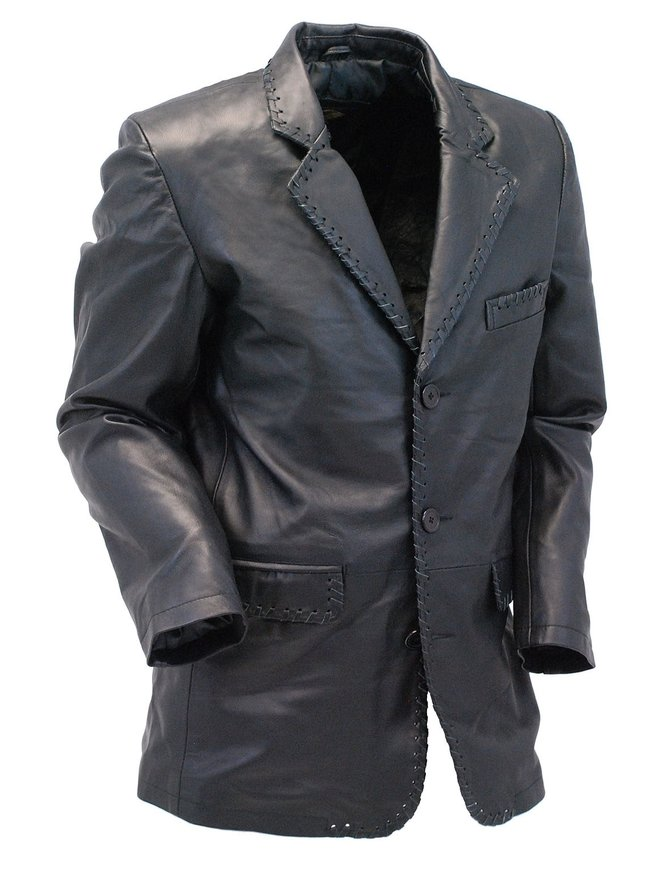 Jamin Leather Whip Stitch Black Lambskin Leather Blazer #M17082BK