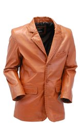 Jamin Leather Light Brown Whip Stitch Lambskin Leather Blazer #M17083TN (M-3X)