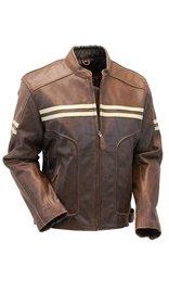 Men's Brown Vintage Double Stripe Leather Racer Jacket #M210ZTN