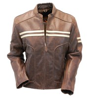 Men's Brown Vintage Double Stripe Leather Racer Jacket #M210ZTN
