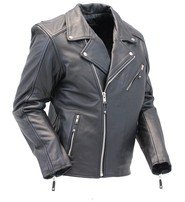 Naked Cowhide Leather Motorcycle Jacket w/No Belt #M211MCK