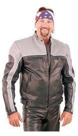 Men's Gray and Black Vented Scooter Motorcycle Jacket #M2125KSZ