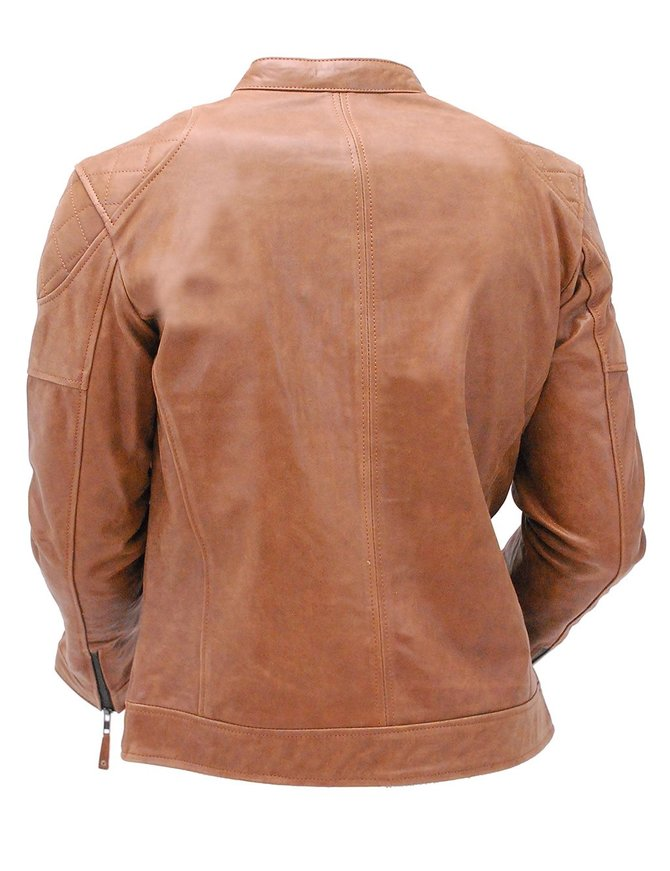 Brown Cowhide Leather Cafe' Racer Scooter Jacket #M213N