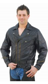 Jamin Leather Vented Multi Pocket Leather Motorcycle Jacket - Special #M217VZK (40-54)