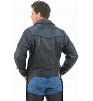Jamin Leather Vented Multi Pocket Leather Motorcycle Jacket - Special #M217VZK