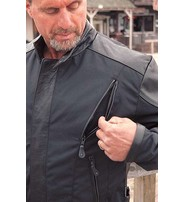 Lightweight Nylon & Leather Motorcycle Jacket w/Vents #M2206VZ