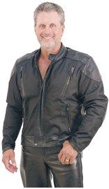 Lightweight Nylon & Leather Motorcycle Jacket w/Vents #M2206VZ