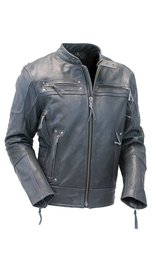 Gray Vented Warrior King Leather Motorcycle Jacket #M2312VZGY