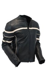 Men's Cream Stripe Vented Racer Motorcycle Jacket w/Armor #M2532AVZC (S only)