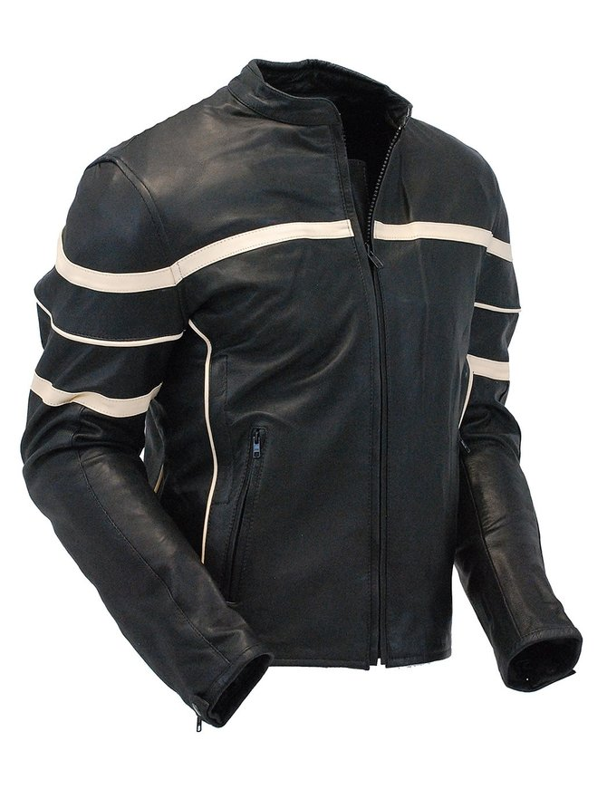 Men's Cream Stripe Vented Racer Motorcycle Jacket w/Armor #M2532AVZC