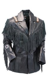 Jamin Leather Tribal Bead Black Leather Fringe Jacket #M2537BBFK