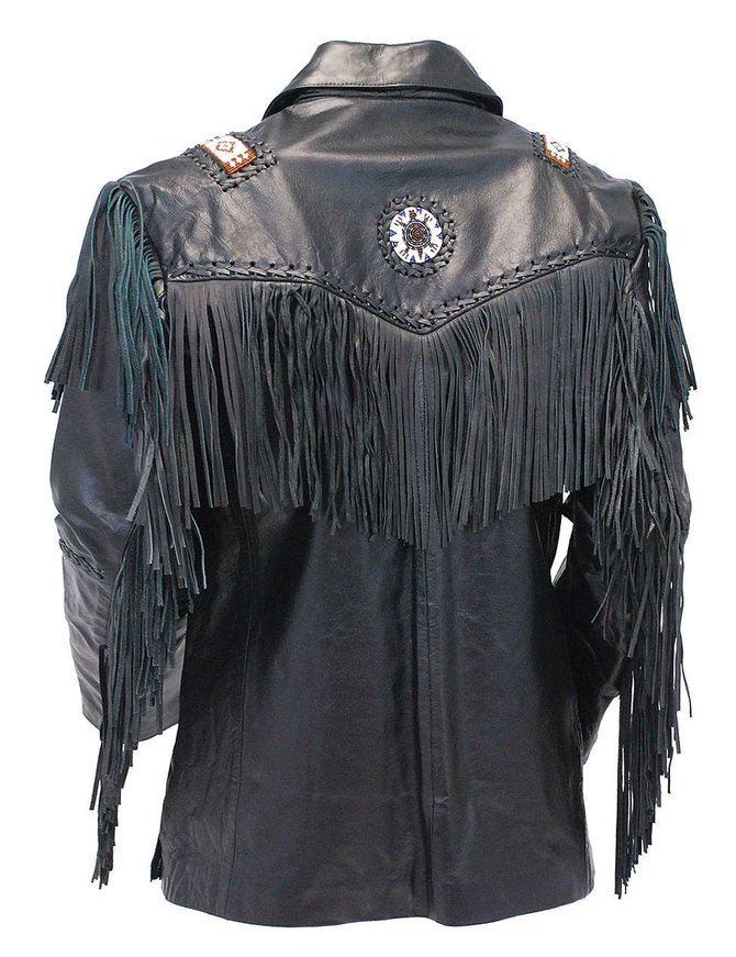 Jamin Leather Tribal Bead Black Leather Fringe Jacket #M2537BBFK