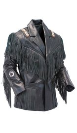 Jamin Leather Tribal Bead Black Leather Fringe Jacket #M2537BBFK (M-2X)