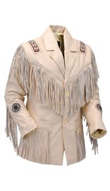 Jamin Leather White Leather Jacket w/Fringe #M2537BBFW (M-3X)