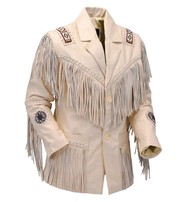 Jamin Leather White Leather Jacket w/Fringe #M2537BBFW