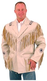 Jamin Leather White Leather Jacket w/Fringe #M2537BBFW (M-2X)