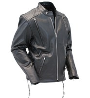 Tall Leather Motorcycle Jacket w/Vents #M274VZT