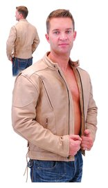 Light Brown Vented Motorcycle Jacket w/Side Lace #M305VZN (40-56)