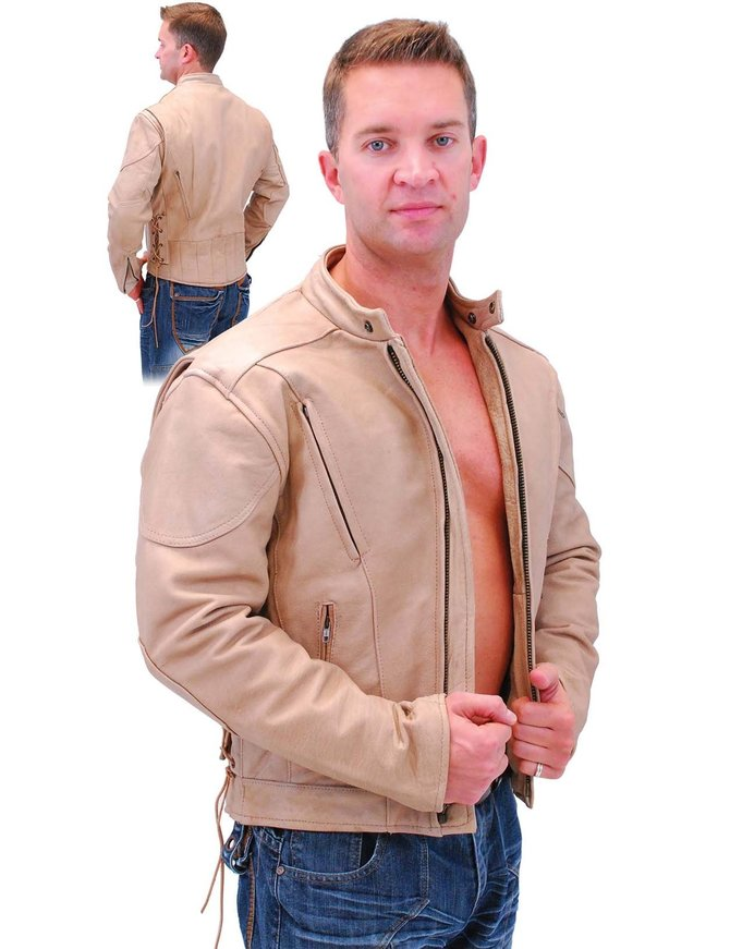 Light Brown Vented Motorcycle Jacket w/Side Lace #M305VZN
