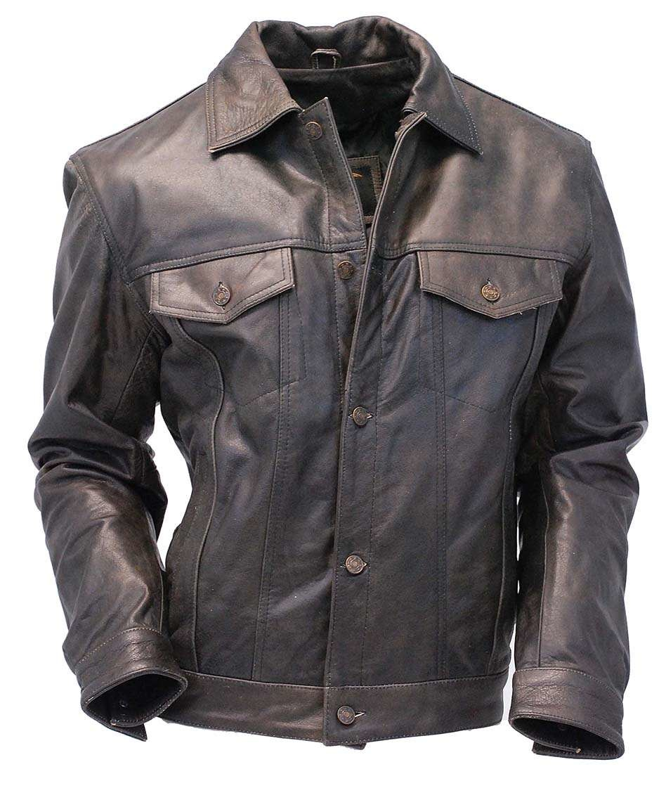 Mens Leather Jacket Vintage Jean Jacket Style M321gy Jamin Leather