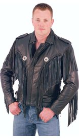 Jamin Leather Beltless Fringed Leather Motorcycle Jacket #M400FB