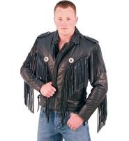 Jamin Leather Beltless Fringed Leather Motorcycle Jacket #M400FB