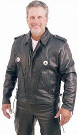 Braid Trim Side Lace Leather Motorcycle Jacket #M406ZBK