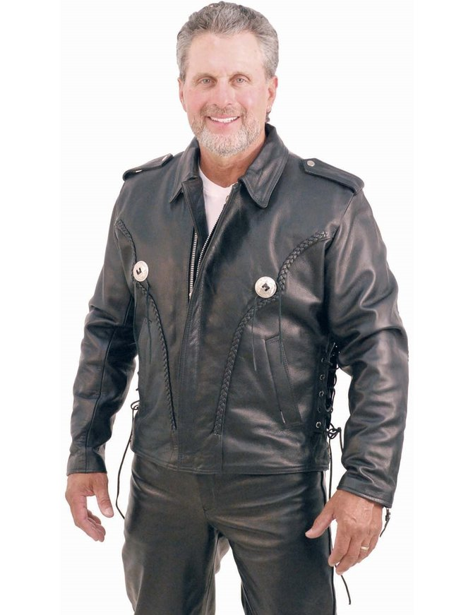 Braid Trim Side Lace Leather Motorcycle Jacket #M406ZBK