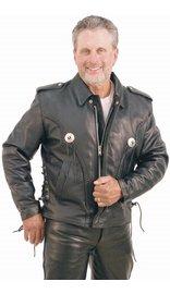 Braid Trim Side Lace Leather Motorcycle Jacket #M406ZBK (42-48)