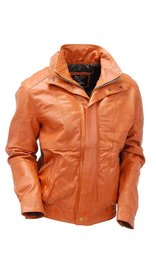 Jamin Leather Waxy Distressed Light Brown Double Collar Bomber #M481N (M-3X)