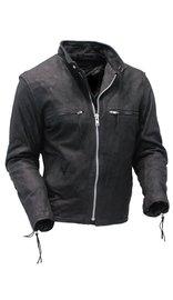 Black Newbuck Leather Rebel Rider Cafe Racer Jacket #M503NZK