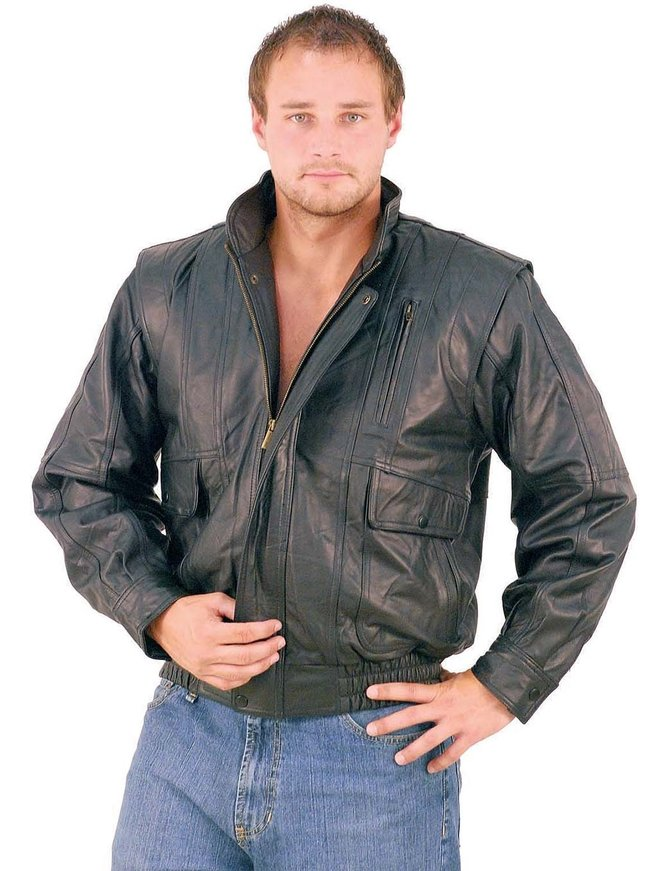 Black Leather Bomber Jacket w/Mandarin Collar #M511ZK