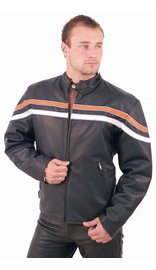 Men's Harley Orange/Tan Stripe Motorcycle Jacket #M53216ZO