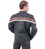 Men's Harley Orange/Tan Stripe Motorcycle Jacket #M53216ZO