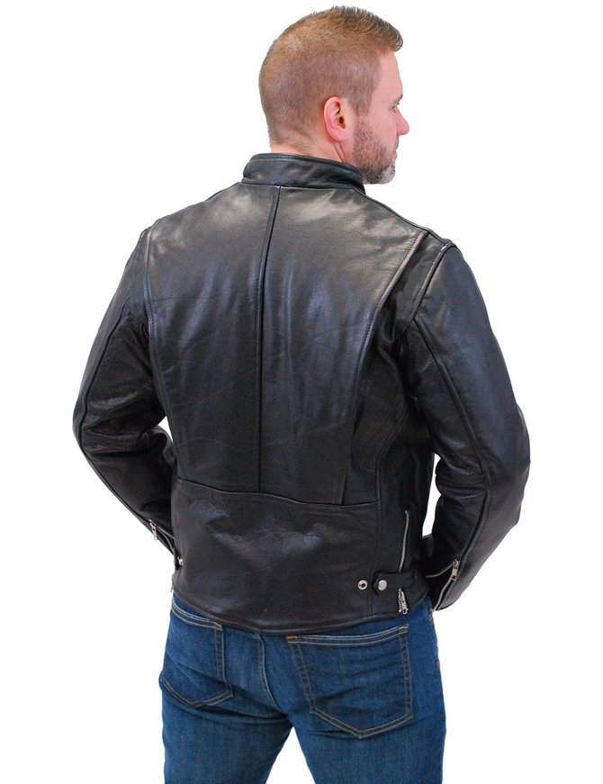 Black Cafe Racer Leather Motorcycle Jacket #M570Z