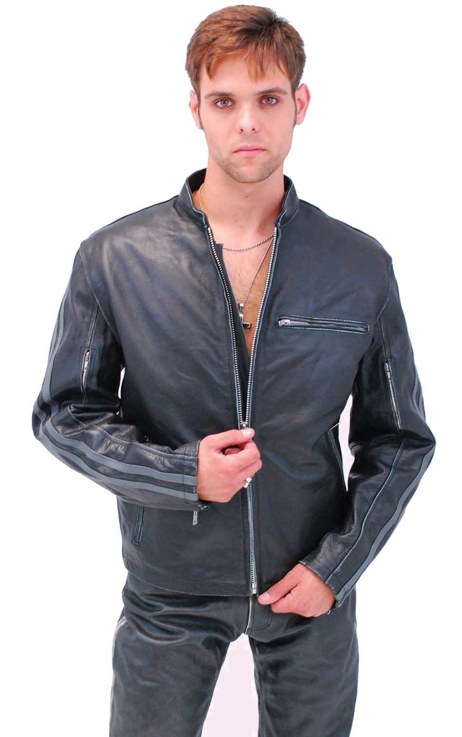 Men/'s Vintage Wrinkled Shoulder Biker Cafe Racer Distressed black Leather Jacket