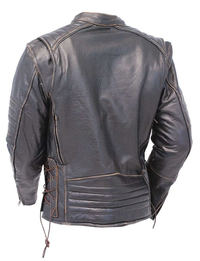 Vintage Brown Vented Scooter Jacket w/CCW Pockets & Reflectors #M6617VGN