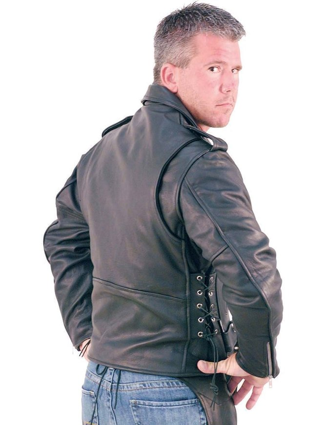Big & Tall Leather Motorcycle Jacket #M727ZT