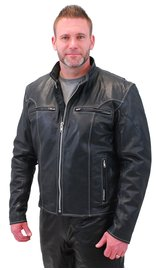 Jamin Leather Men's White Stitch Premium Naked Scooter Jacket w/CCW Pockets #M901GZWK (M-3X)