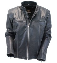 Jamin Leather Men's White Stitch Premium Naked Scooter Jacket w/CCW Pockets #M901GZWK