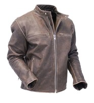 Jamin Leather Vintage Brown Rebel Rider Motorcycle Scooter Jacket #MA11026ZDN