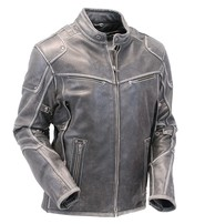 Milwaukee Vintage Gray Leather Vented Scooter Jacket w/Dual CCW Pockets #MA1536VZGY